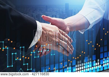 Concept Of Partnership. Business Man And Woman Handshake Over Forex Chart. Capital And Stock Market