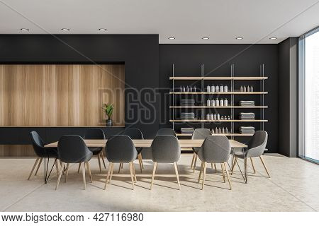 Loft Interior With Bathware In The Shelving Unit, Niche In The Black Wall With Shelf Beneath, Wooden