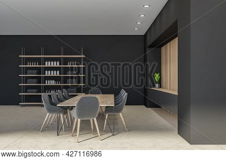 Side View Of Loft Interior With Bathware In The Shelving Unit, Niche In The Black Wall With Shelf Be