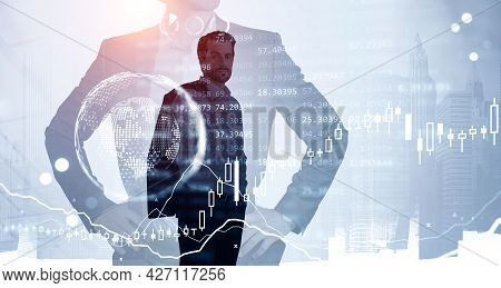 Two Confident Businessman Traders, Candlesticks Forex Hologram Changes With Quotations And Glowing G