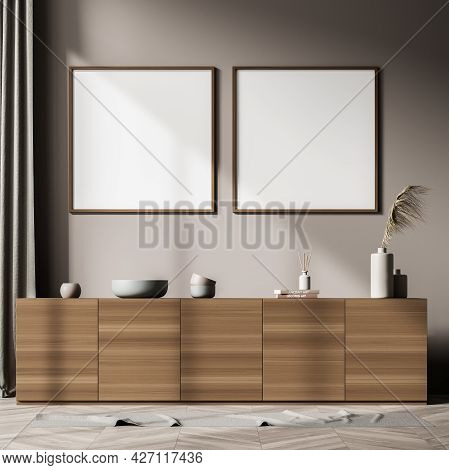Two Square Empty White Banners In The Interior With Wooden Sideboard. Light Brown Shade Of Backgroun