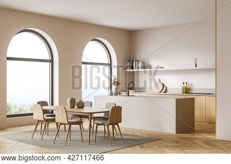 Studio Kitchen With Arch Windows, Pinky White Walls, Wooden And Stone Details. Parquet Floor With Ca