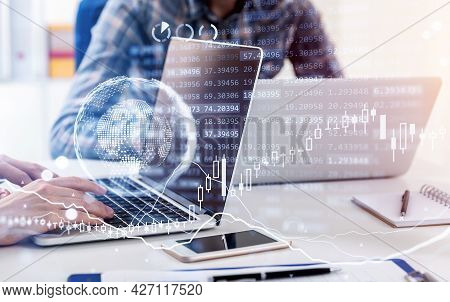 Business Woman Working On Laptop, Businessman Working On Laptop As Well, Hologram Forex Charts With