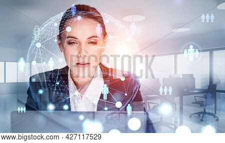 Front View Portrait Of Attractive Recruiter Woman Who Is Looking For New Employees For The Internati