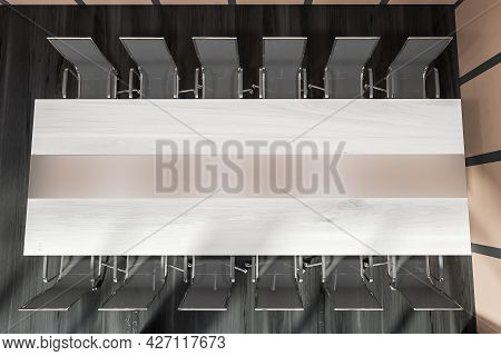 Office Interior With Top Of Meeting Table, Having Light Pinky And White Stripes, Twelve Grey Metalli
