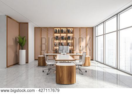 Office Interior With Panoramic View, Symmetric Pinky Brown Cabinet With Open Shelves In The Middle A