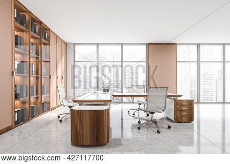 Panoramic Interior With Wooden And Pinky Brown Details Of Cabinet, Wall And Desk With Three Rolling
