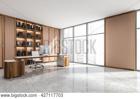 Panoramic Office Interior With Concrete Grey Floor, Wooden And Pinky Brown Details Of Cabinet, Wall