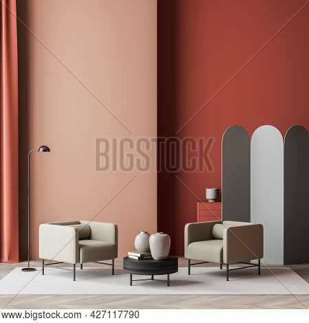 Waiting Room Interior With Two Armchairs, Dark Coffee Table, Lamp And Grey Decor Devider. Red Walls,
