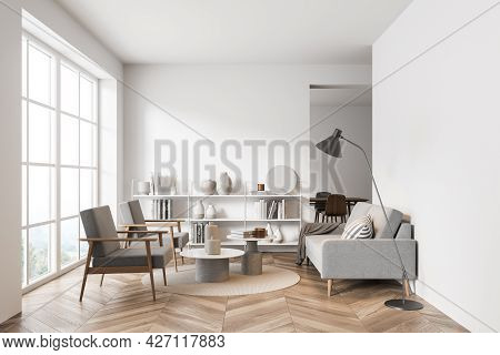 Mock Up Empty Copy Space Wall. Modern Living Room Interior. Wood Oak Floor And Stylish Furniture. Co
