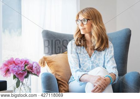 Beautiful Middle Aged Woman Portrait While Relaxing