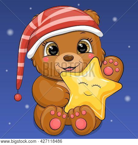 A Cute Cartoon Brown Bear In A Night Cap Is Holding A Star. Night Animal Vector Illustration On Blue