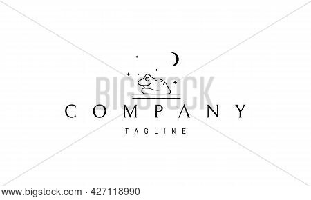 Vector Logo On Which An Abstract Image Of A Funny Toad On A Background Of The Night Sky.