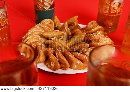 Soft Focus On Tasty And Sweet Plate Full Of Fresh Traditional Moroccan Handmade Brewat Sweets. Red B
