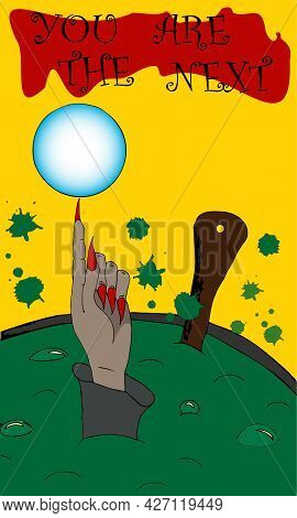 Halloween Card With A Picture Of A Cauldron With A Potion, From Which A Hand With A Prophecy From An