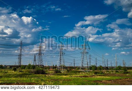 High Voltage Electric Pylon And Electrical Wire . High Voltage Grid Tower.