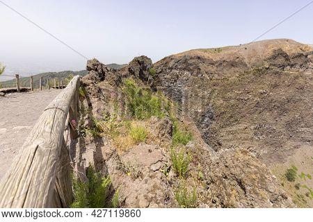 Scenic Footpath Made Of Fine Sharp Volcanic Tuff To The Top Of The Vesuvius Volcano, Mount Vesuvius,