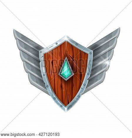 Wooden Game Shield Badge, Vector Winner Rank Silver Award, Medieval Knight Trophy Achievement. Fanta