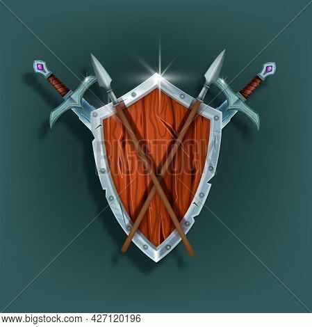 Wooden Game Shield Vector Illustration, Medieval Knight Armor, Iron Sword, Spear, Warrior Inventory.