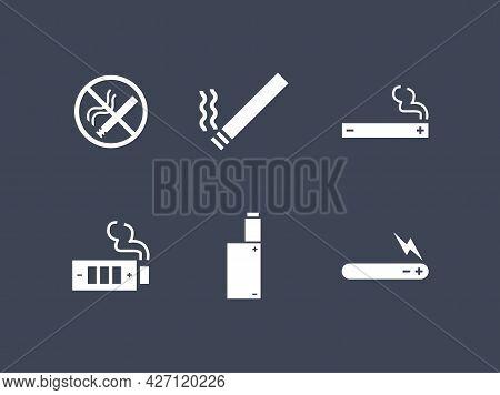 Smoke And Vape Icon Set. No Smoking Cigarette And Vape E-cigarette Device White Icons
