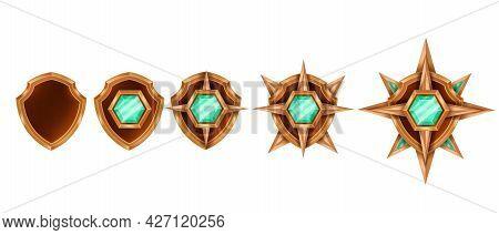 Victory Game Badge Set, Vector Rank Medal Award Trophy Kit, Bronze Shield, Green Emerald Crystal, St