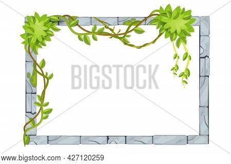 Stone Jungle Ui Game Frame, Vector Rock Border, Tropical Leaf, Vine, Liana, Ancient Gray Isolated Br