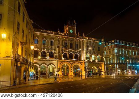 Lisbon, Portugal - October 20: Beautiful Rossio Railways Station In Lisbon By Night October 20, 2015
