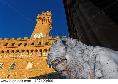Florence, Italy - October 2: Piazza Della Signoria (square Of The Lords) In Florence With Medici Lio