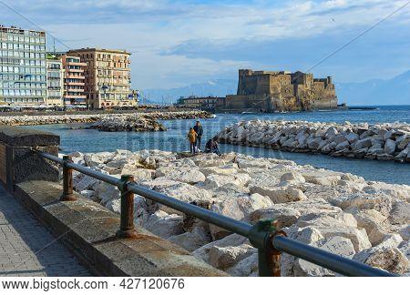 Naples, Italy - January 21, 2017:  View Of The Lungomare Caracciolo,  Romantic Seaside Promenade Wit