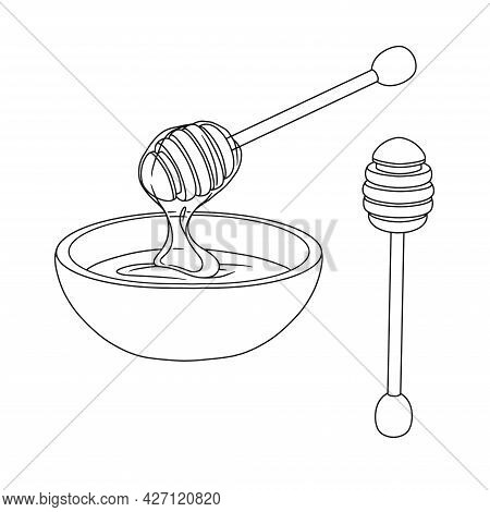 Sketch Of A Bowl With Honey And A Wooden Honey Spoon. Vector Illustration