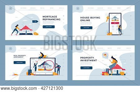 Real Estate Concepts Set For Landing, Homepage. Property Investment, Appraisal, House-buying, Mortga