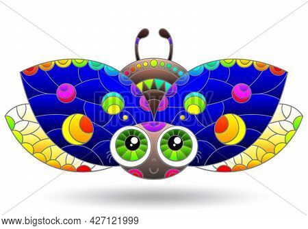 An Illustration In The Style Of A Stained Glass Window With A Bright Ladybug, The Animal Is Isolated