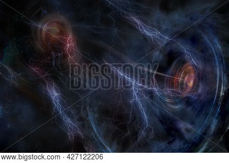 Fight Between Galaxies With Futuristic Black Holes And Lightning Among The Stars. Elements Of This I