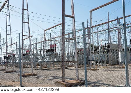 Electrical Power Plant Facility Industry. Power Station For Making High Voltage Electricity. Teruel,