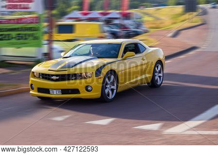 Yellow Model Chevrolet Camaro Sports Car. Speed