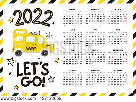Airmail Calendar Template. 2022 Yearly Calendar. 12 Months Yearly Calendar Set In 2022. Cute Yellow