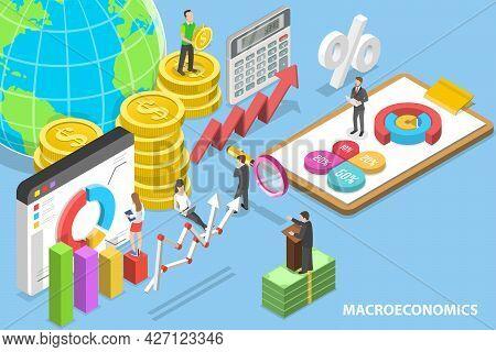 3d Isometric Flat Vector Conceptual Illustration Of Macroeconomics, Global Financial System, Gross D