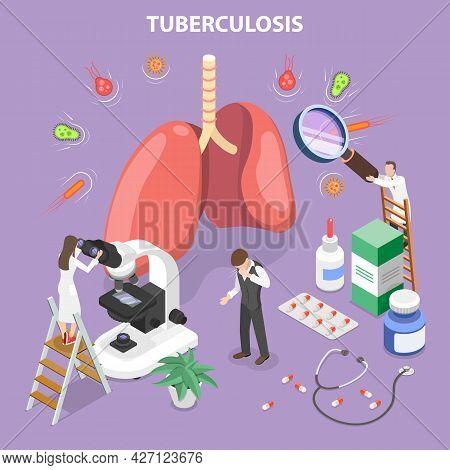3d Isometric Flat Vector Conceptual Illustration Of Mycobacterium Tuberculosis, Medical Pulmonologic