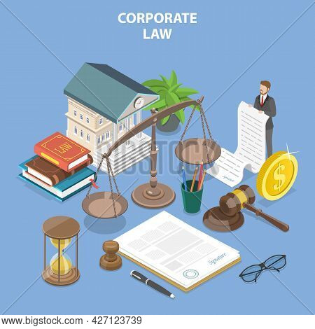 3d Isometric Flat Vector Conceptual Illustration Of Corporate Law, Regulation Of Commercial Entities