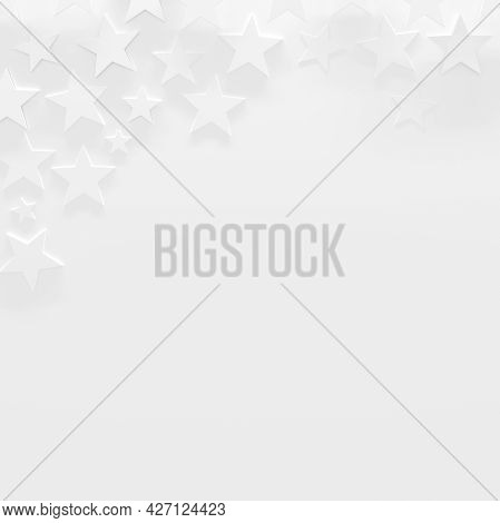 White Celebrity Background For Presentations With Stars And Copy Space (3d Illustration)