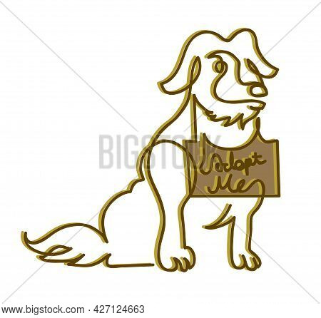 One Line Drawing Of Homeless Dog To Adopt One Continuous Line Drawing Of Lost And Homeless Dog.