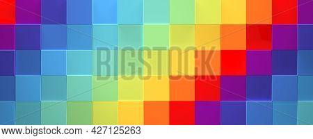 Wide Multicolored Geometric Rainbow Background (website Head, 3d Illustration)