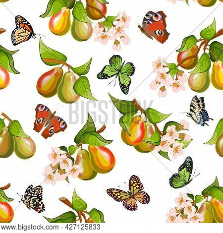 Branches With Flowers And Pears.branches With Pears, Flowers And Butterflies On A White Background I