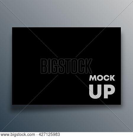 Black Card Mock Up Design For Flyer, Poster, Brochure Cover, Background, Wallpaper, Typography, Or O