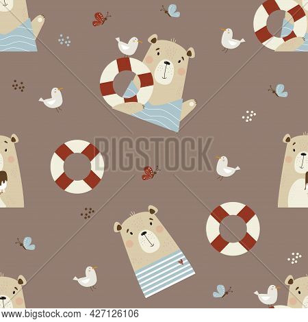 Seamless Pattern With Cute Bears. Funny Sailor With Seagull And Lifebuoy On Brown Background With Se