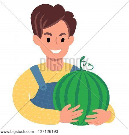 Caucasian Boy With A Big Watermelon. Flat Style Illustration
