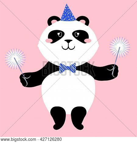 Vector Illustration Of A Cute Cartoon Panda Bear In Party Hat With Sparkles.