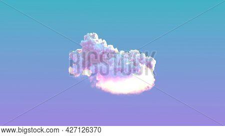 Beautiful Single Sunrise Cloud . Cgi Nature 3d Rendering