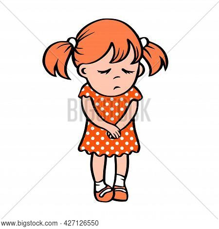 Little Sad Girl In A Red Dress. Stands With An Unhappy Face. Guilt. Vector Cartoon Isolated Illustra