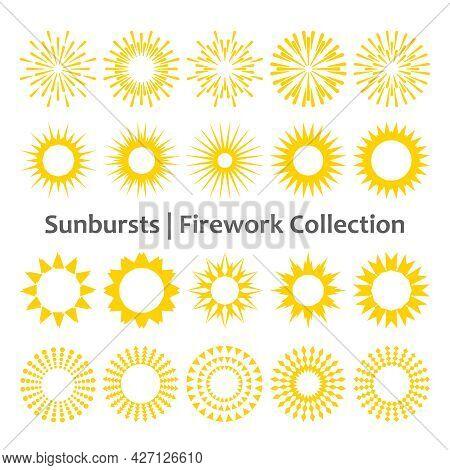 Set Of Yellow Sunbursts Or Fireworks On White Background. Vector Vintage Or Retro Light Explosion Ra